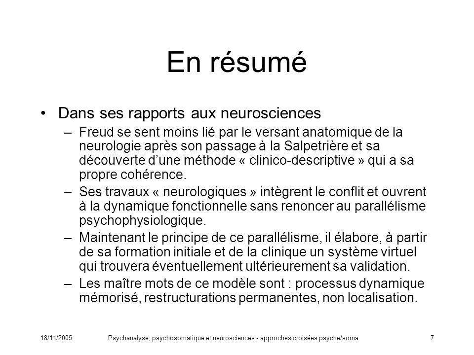 En résumé Dans ses rapports aux neurosciences
