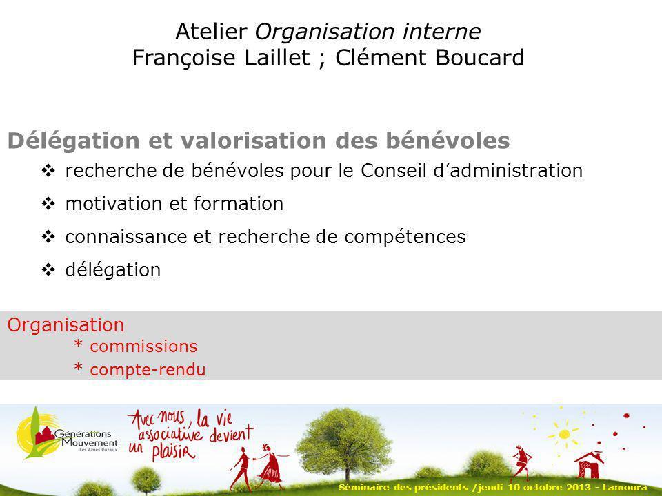 Atelier Organisation interne Françoise Laillet ; Clément Boucard