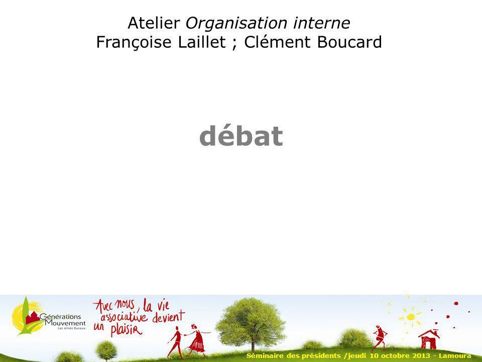 débat Atelier Organisation interne Françoise Laillet ; Clément Boucard