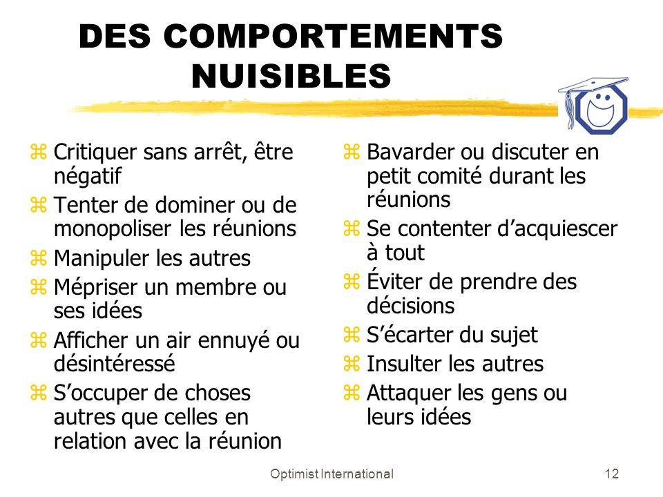 DES COMPORTEMENTS NUISIBLES