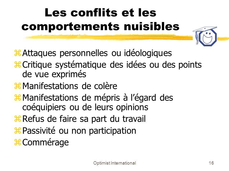 Les conflits et les comportements nuisibles