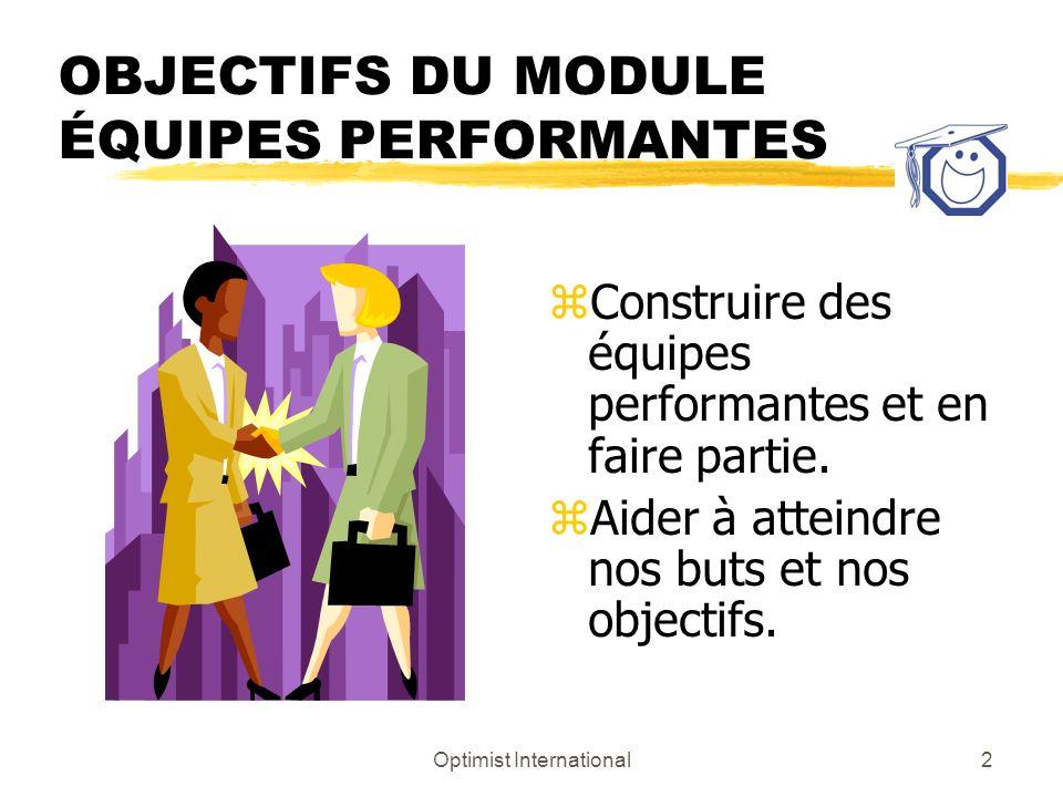 OBJECTIFS DU MODULE ÉQUIPES PERFORMANTES