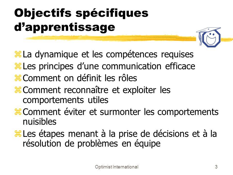 Objectifs spécifiques d'apprentissage