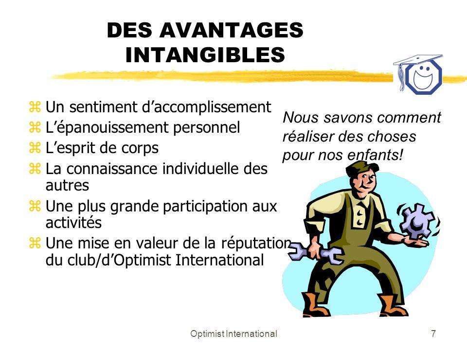 DES AVANTAGES INTANGIBLES