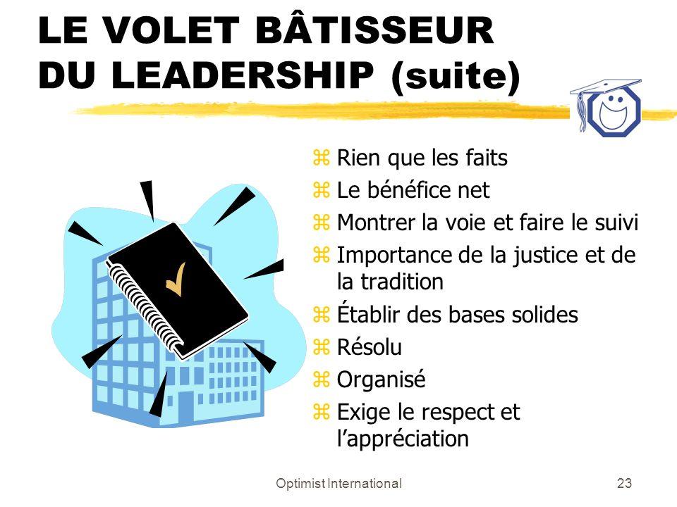 LE VOLET BÂTISSEUR DU LEADERSHIP (suite)