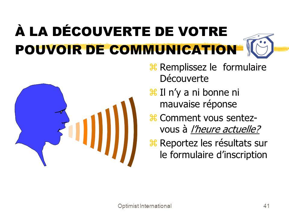 À LA DÉCOUVERTE DE VOTRE POUVOIR DE COMMUNICATION