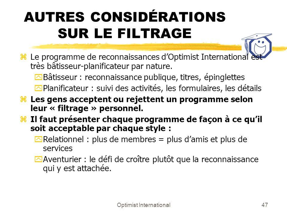 AUTRES CONSIDÉRATIONS SUR LE FILTRAGE