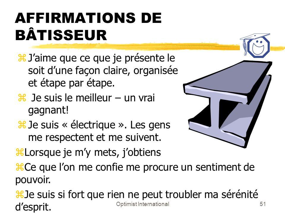 AFFIRMATIONS DE BÂTISSEUR