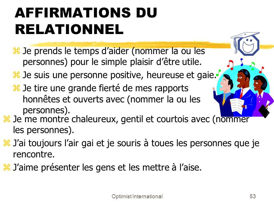 AFFIRMATIONS DU RELATIONNEL