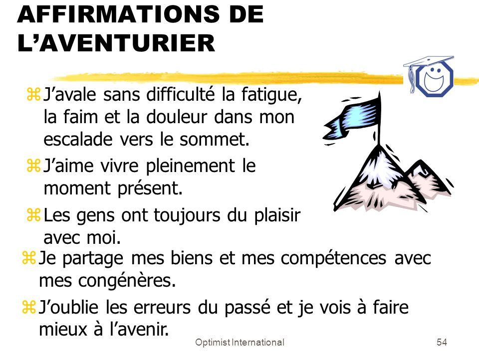 AFFIRMATIONS DE L'AVENTURIER