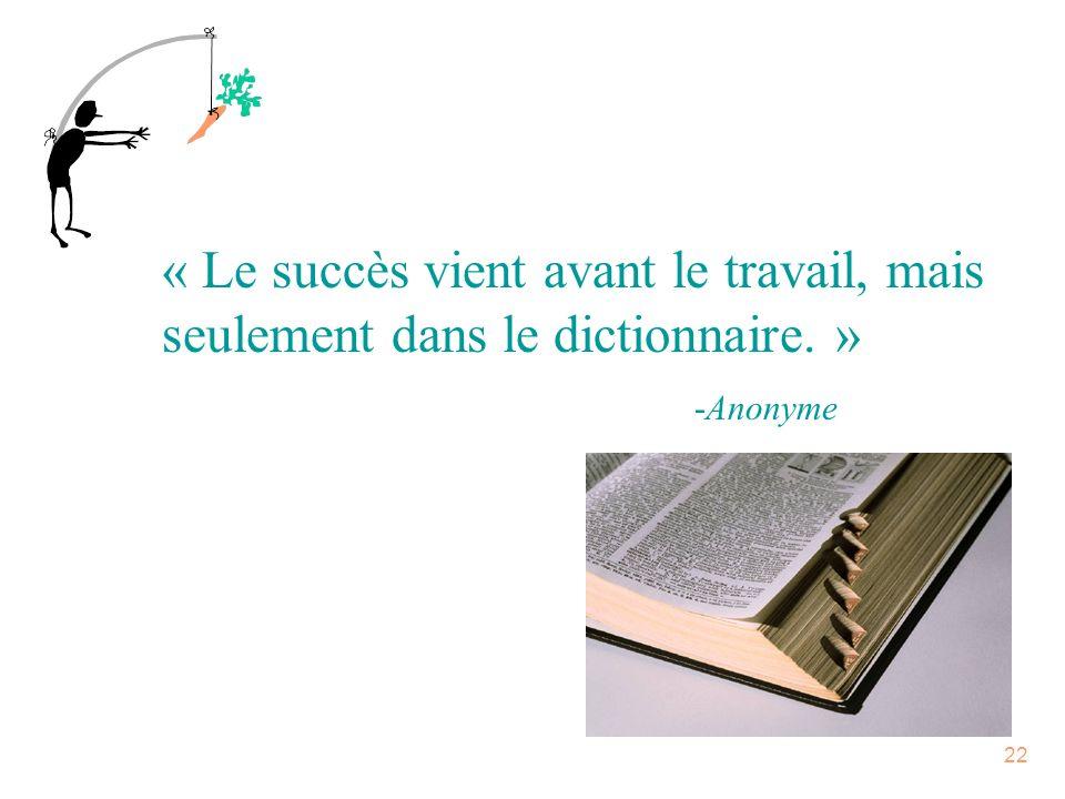 « Le succès vient avant le travail, mais seulement dans le dictionnaire. »