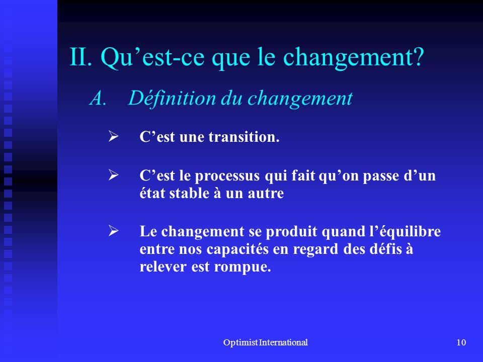 II. Qu'est-ce que le changement