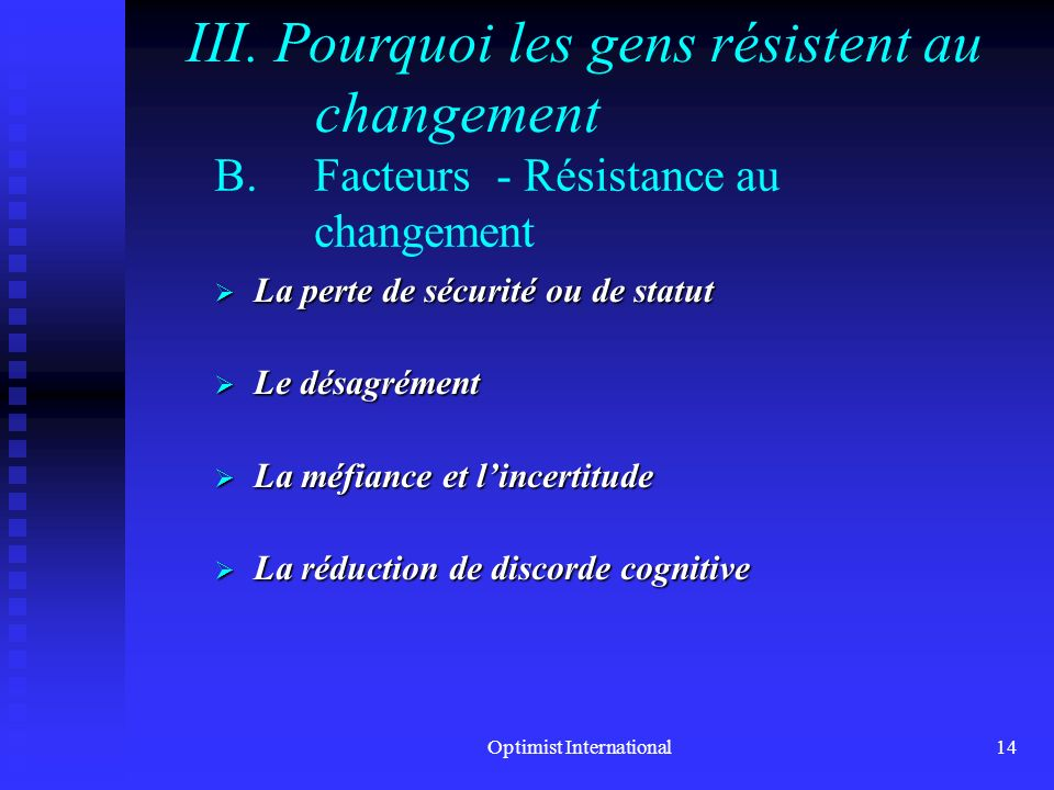 Facteurs - Résistance au changement