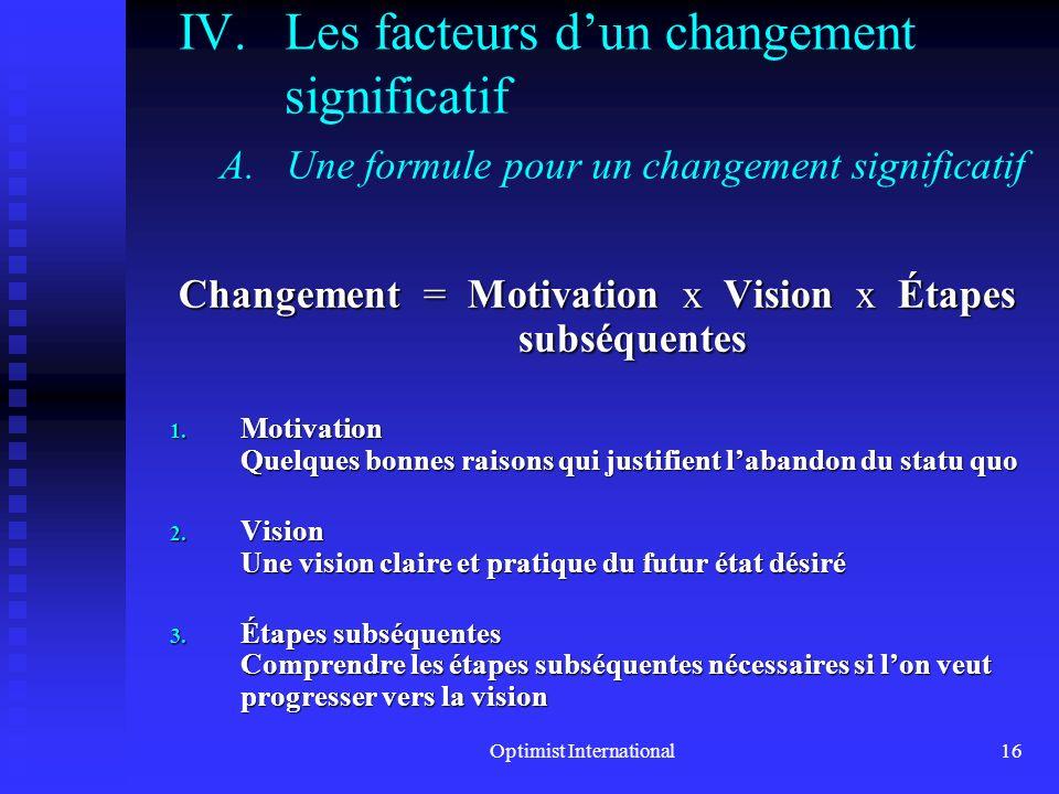 Les facteurs d'un changement significatif