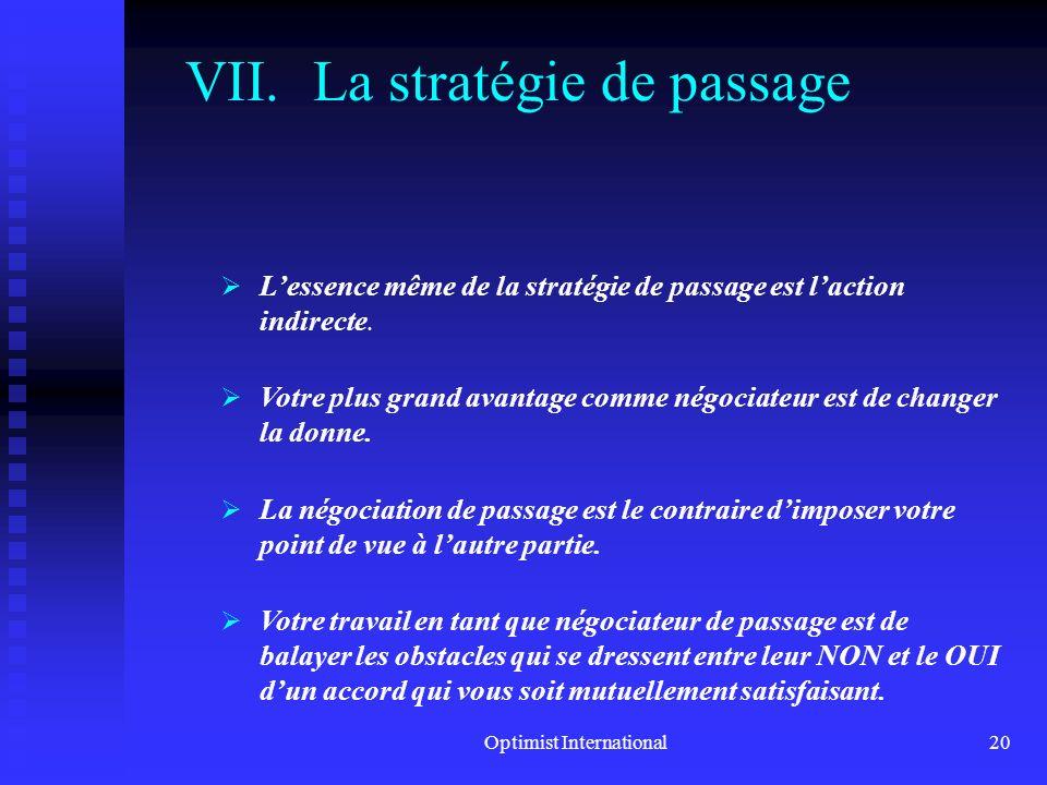La stratégie de passage