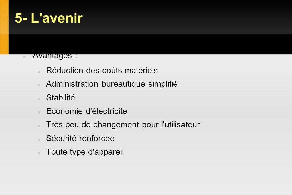 5- L avenir VDI : Objectifs Gains et limites Avantages :
