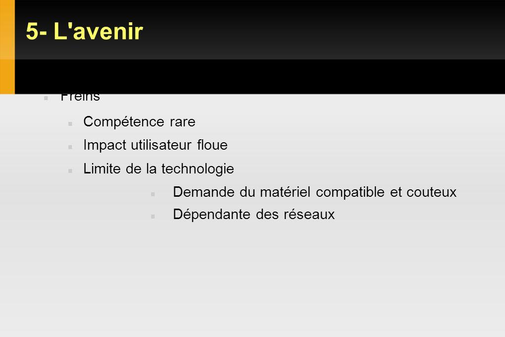 5- L avenir VDI : Objectifs Gains et limites Freins Compétence rare