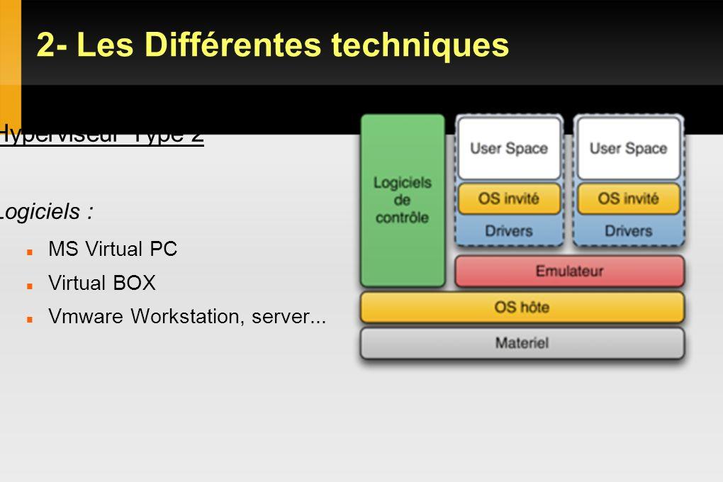 2- Les Différentes techniques