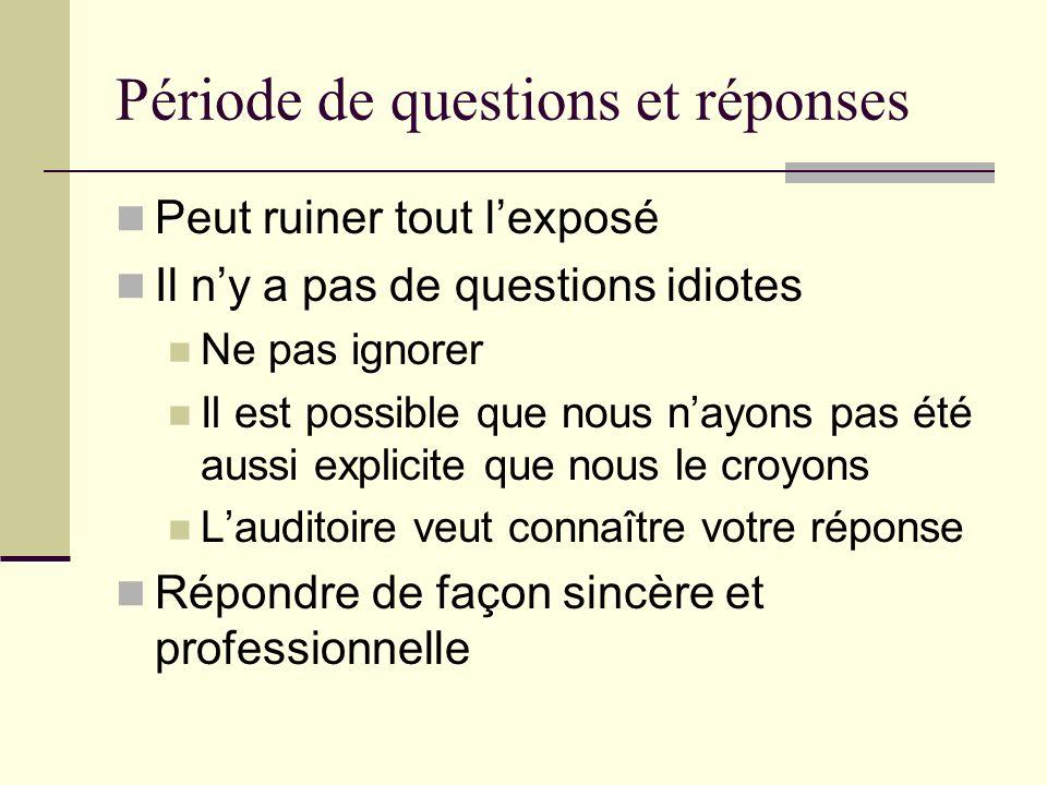 Période de questions et réponses