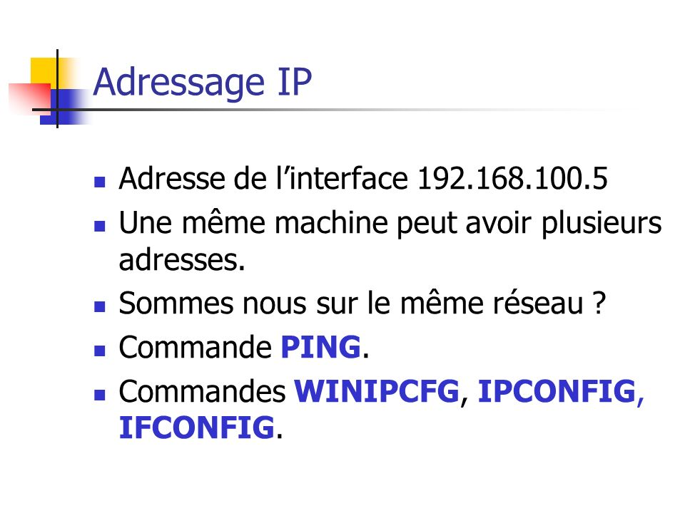 Adressage IP Adresse de l'interface 192.168.100.5