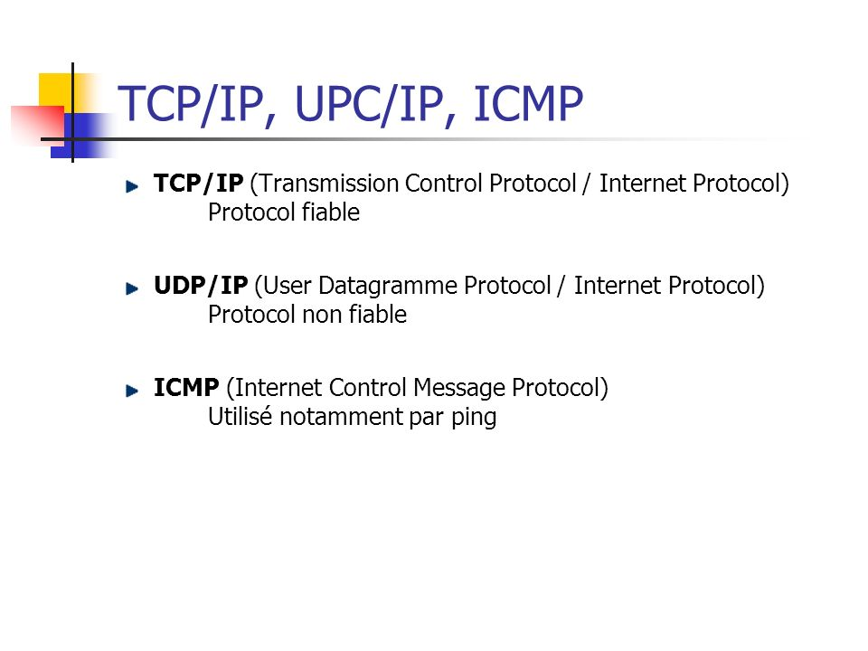 TCP/IP, UPC/IP, ICMP TCP/IP (Transmission Control Protocol / Internet Protocol) Protocol fiable.
