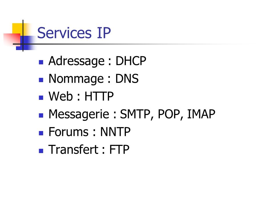 Services IP Adressage : DHCP Nommage : DNS Web : HTTP