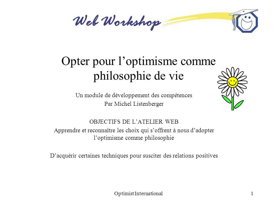 Opter pour l'optimisme comme philosophie de vie