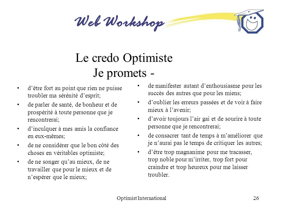Le credo Optimiste Je promets -