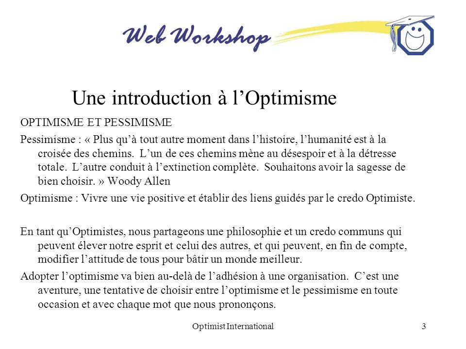 Une introduction à l'Optimisme