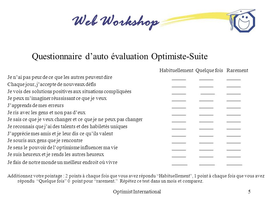 Questionnaire d'auto évaluation Optimiste-Suite