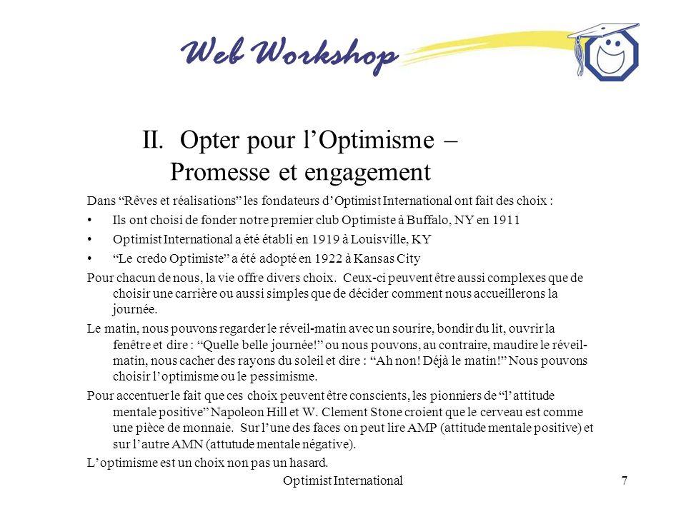 II. Opter pour l'Optimisme – Promesse et engagement
