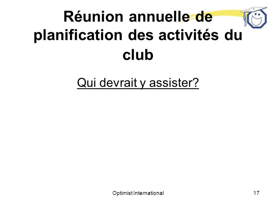 Réunion annuelle de planification des activités du club