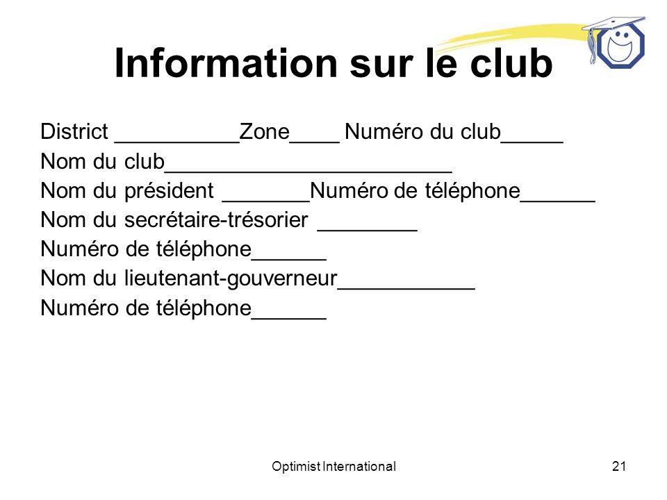 Information sur le club