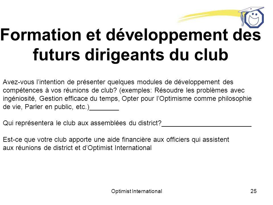 Formation et développement des futurs dirigeants du club