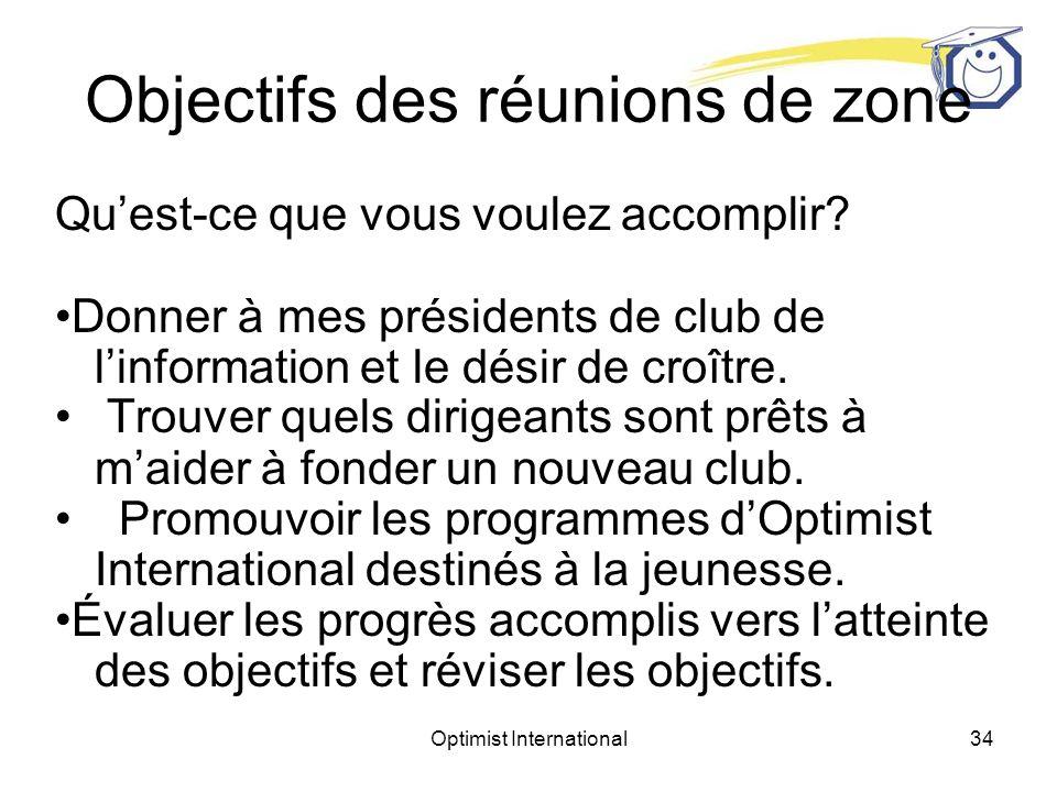 Objectifs des réunions de zone