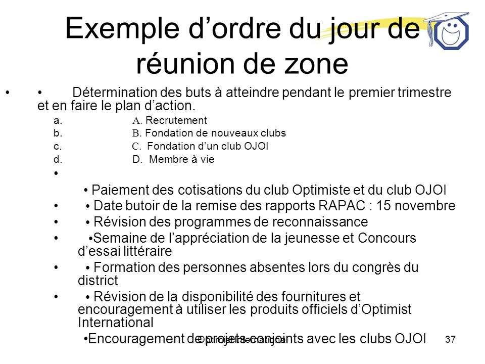 Exemple d'ordre du jour de réunion de zone