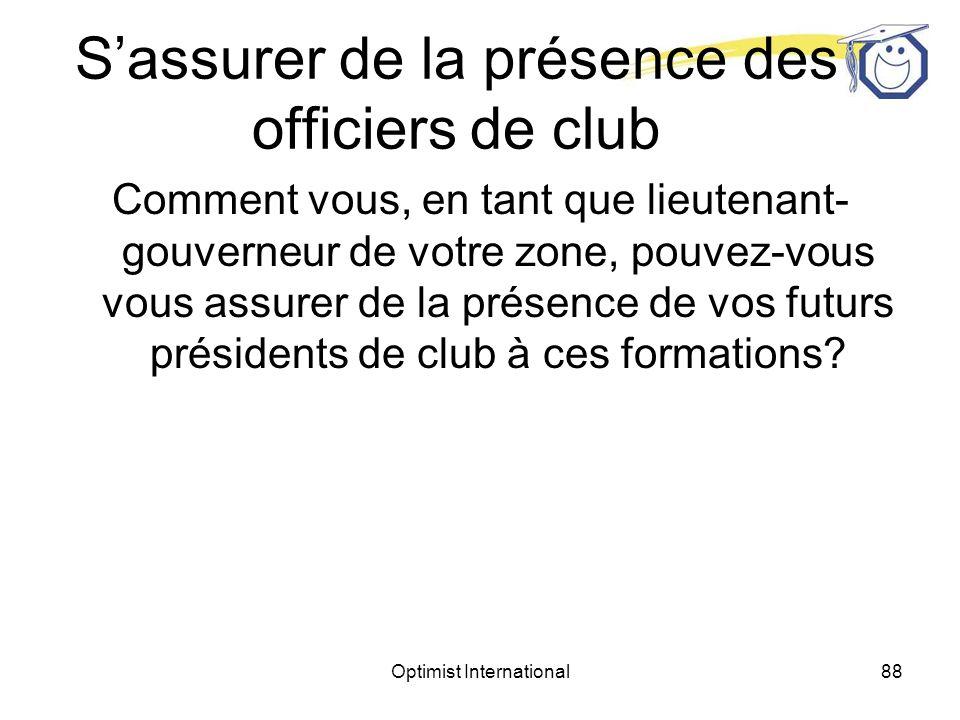 S'assurer de la présence des officiers de club