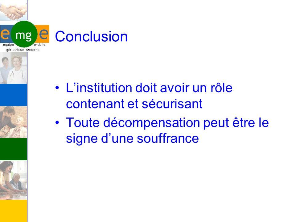 Conclusion L'institution doit avoir un rôle contenant et sécurisant