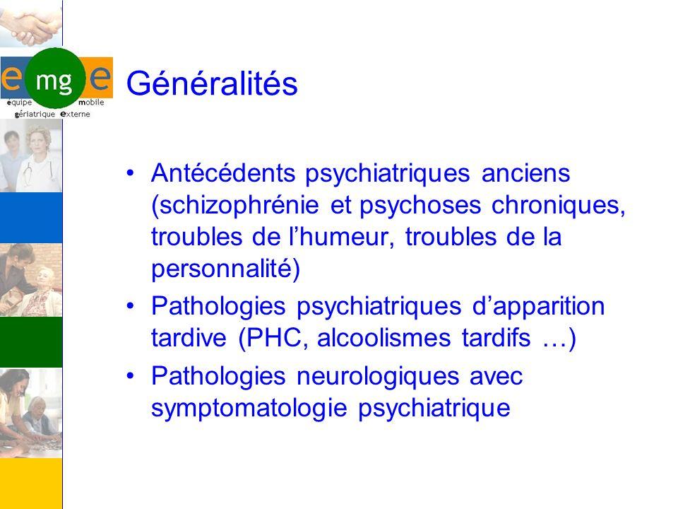 Généralités Antécédents psychiatriques anciens (schizophrénie et psychoses chroniques, troubles de l'humeur, troubles de la personnalité)