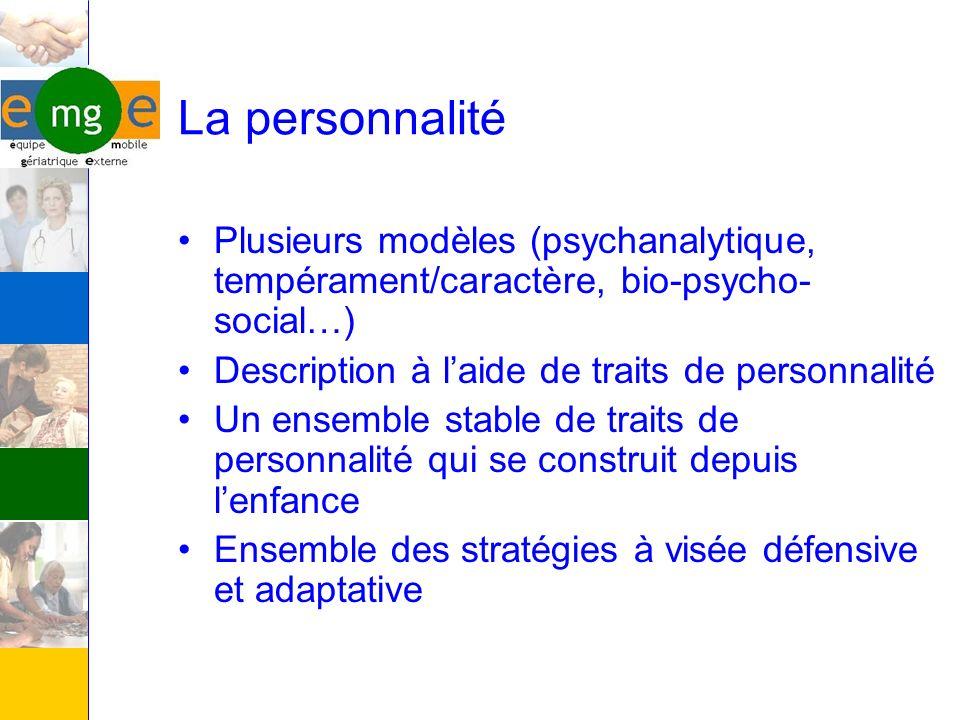 La personnalité Plusieurs modèles (psychanalytique, tempérament/caractère, bio-psycho-social…) Description à l'aide de traits de personnalité.