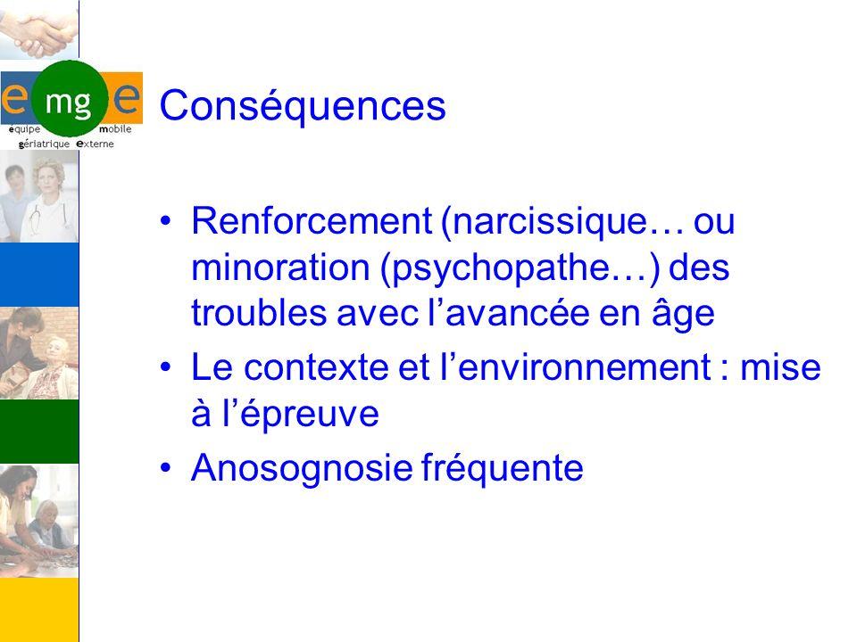 Conséquences Renforcement (narcissique… ou minoration (psychopathe…) des troubles avec l'avancée en âge.