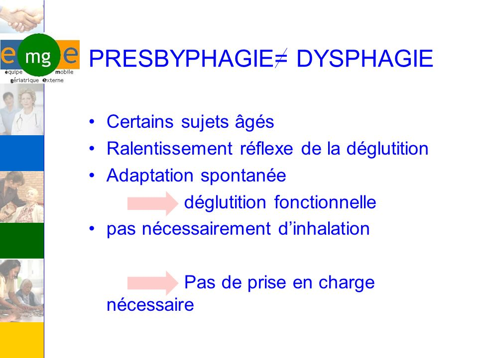 PRESBYPHAGIE= DYSPHAGIE