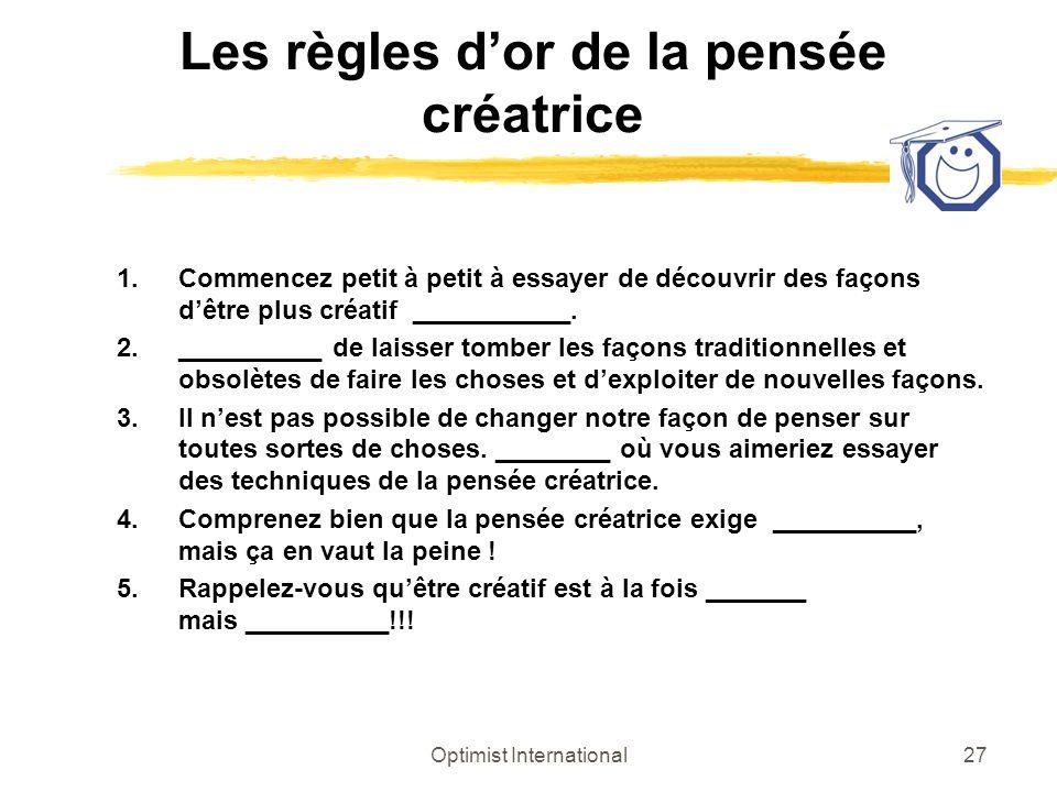 Les règles d'or de la pensée créatrice