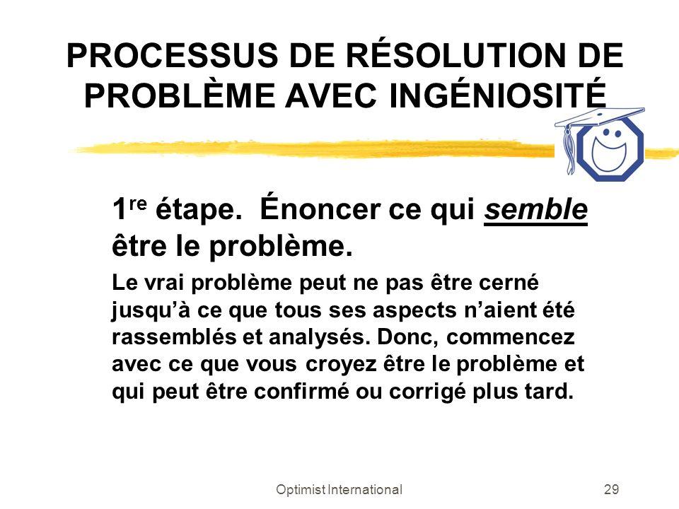 PROCESSUS DE RÉSOLUTION DE PROBLÈME AVEC INGÉNIOSITÉ