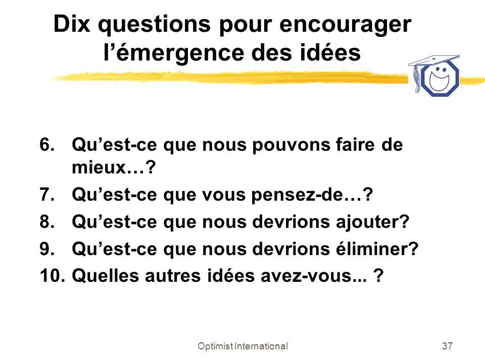 Dix questions pour encourager l'émergence des idées