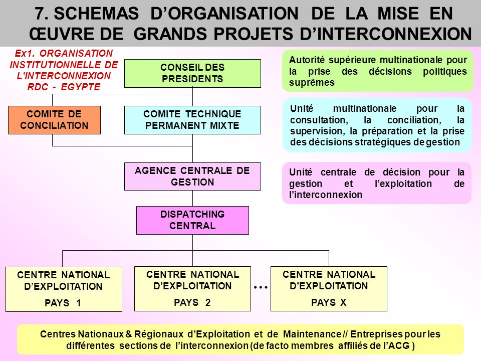 7. SCHEMAS D'ORGANISATION DE LA MISE EN ŒUVRE DE GRANDS PROJETS D'INTERCONNEXION