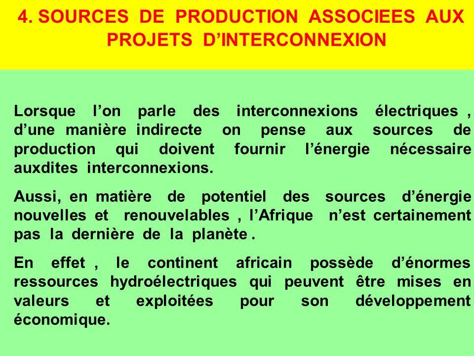 4. SOURCES DE PRODUCTION ASSOCIEES AUX PROJETS D'INTERCONNEXION