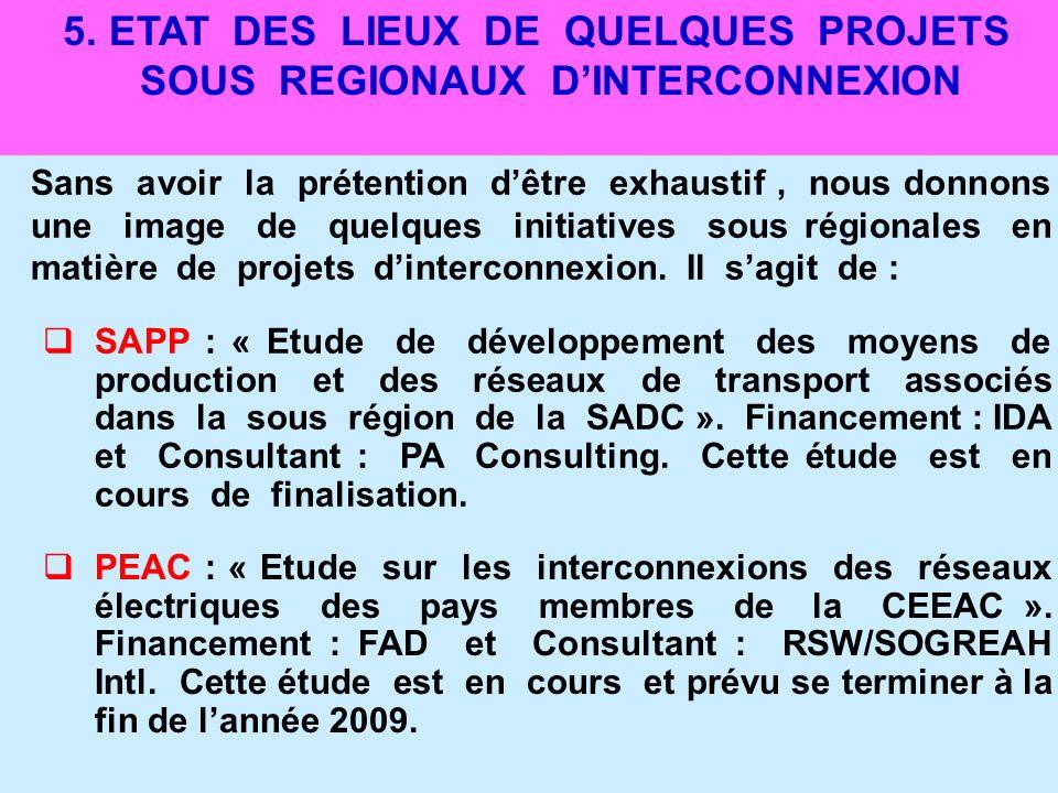 5. ETAT DES LIEUX DE QUELQUES PROJETS SOUS REGIONAUX D'INTERCONNEXION