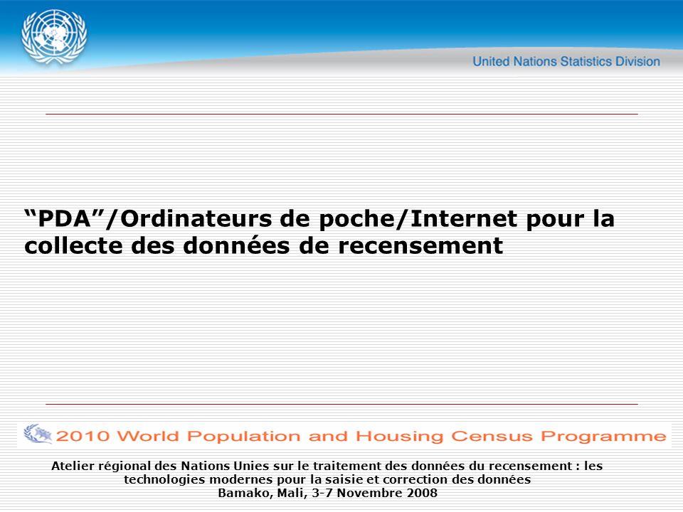PDA /Ordinateurs de poche/Internet pour la collecte des données de recensement