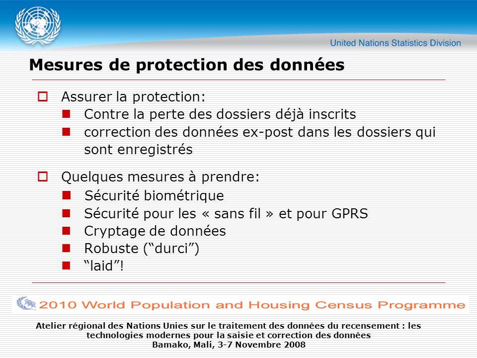 Mesures de protection des données